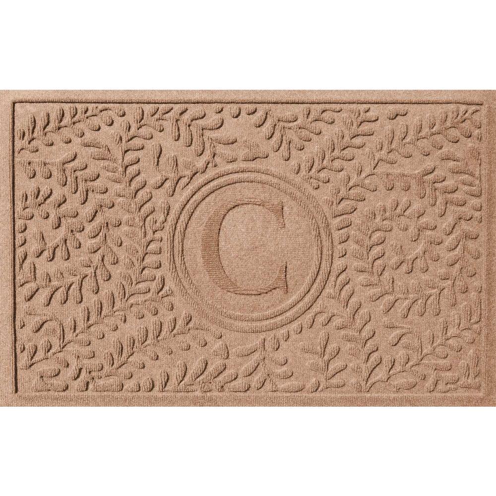 Boxwood Medium Brown 24 in. x 36 in. Monogram C Door Mat