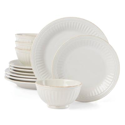 French Perle Groove 12-Piece Traditional Pale Ivory Stoneware Dinnerware Set (Service for 4)