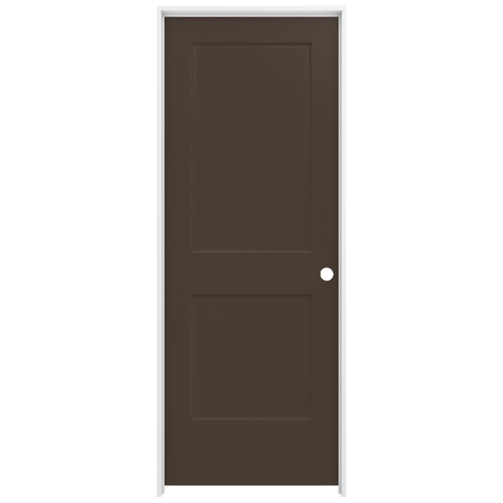 30 in. x 80 in. Monroe Dark Chocolate Left-Hand Smooth Solid Core Molded Composite MDF Single Prehung Interior Door