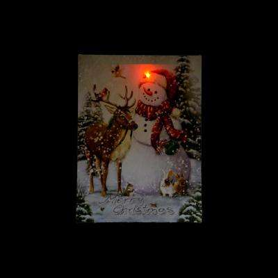 15.75 in. x 12 in. LED Lighted Vintage Inspired Snowman and Reindeer Christmas Canvas Wall Art
