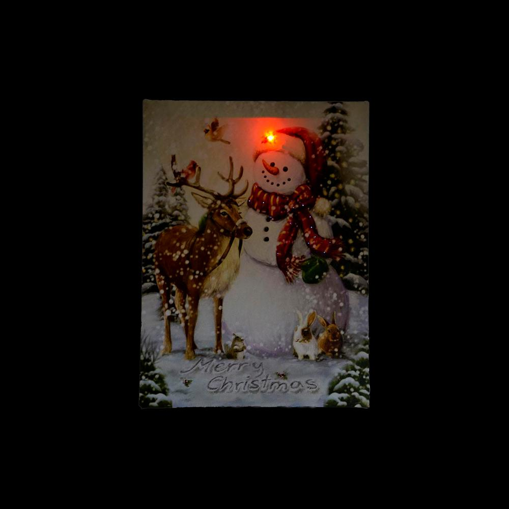Northlight 1575 in x 12 in led lighted vintage inspired snowman led lighted vintage inspired snowman and reindeer christmas canvas wall art 32282578 the home depot audiocablefo