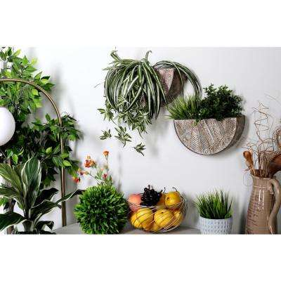 Gray Iron Planters with Palm Leaf Patterns (Set of 3)