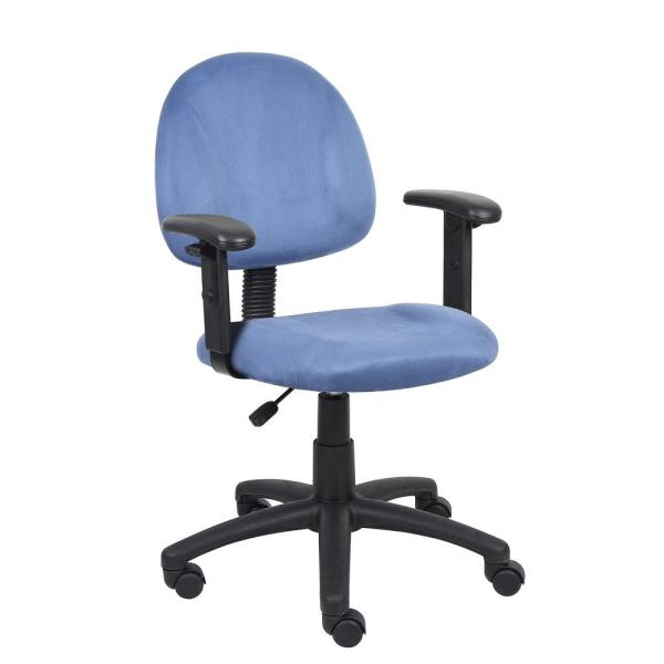 Boss Blue Microfiber Deluxe Posture Chair with Adjustable Arms B326-BE