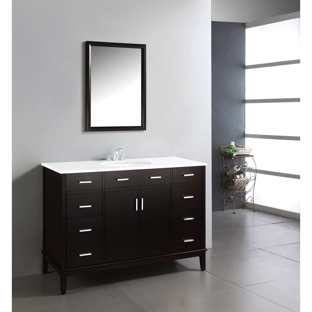 Simpli Home Urban Loft 48 in. Vanity in Espresso Brown with Quartz Marble Vanity Top in White and Under-Mounted Oval Sink