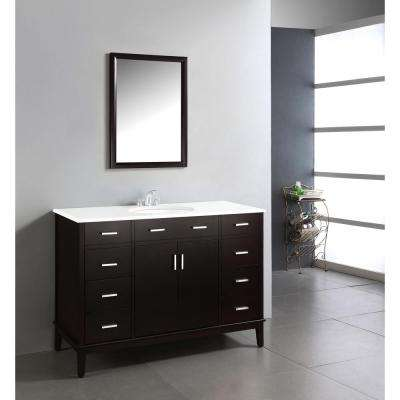 Urban Loft 48 in. Vanity in Espresso Brown with Quartz Marble Vanity Top in White and Under-Mounted Oval Sink
