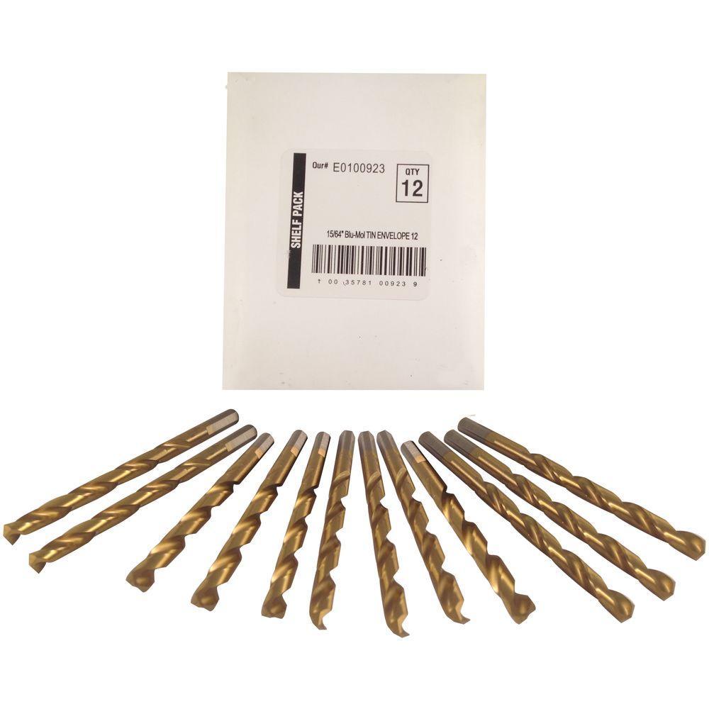 15/64 in. Diameter Titanium Jobber Drill Bit (12-Pack)