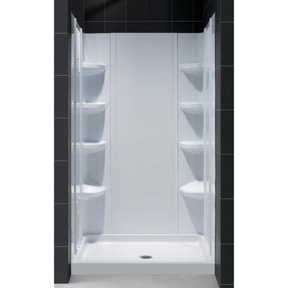 DreamLine QWALL-3 36 in. x 36 in. x 75-5/8 in. Standard Fit Shower Kit in White with Shower Base and Back Wall
