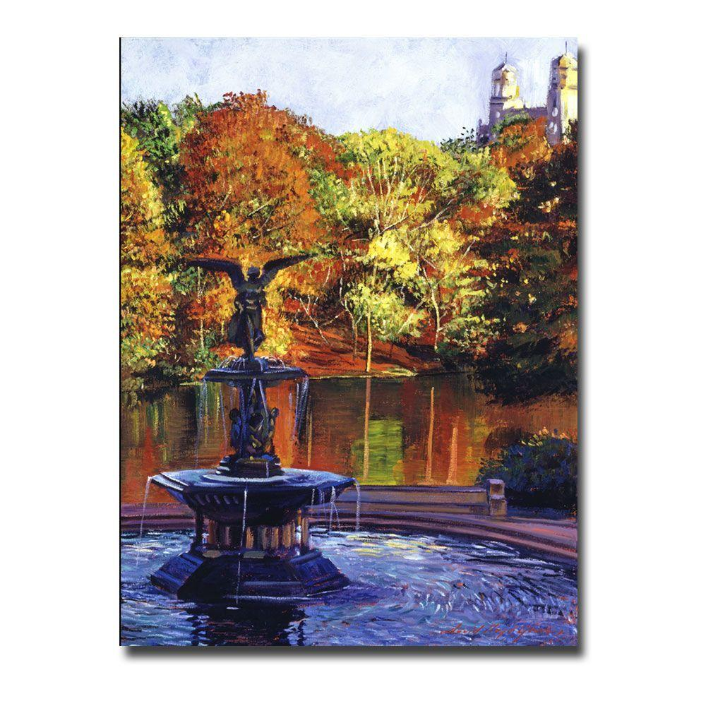 Trademark Fine Art 24 in. x 32 in. Fountain at Central Park Canvas Art