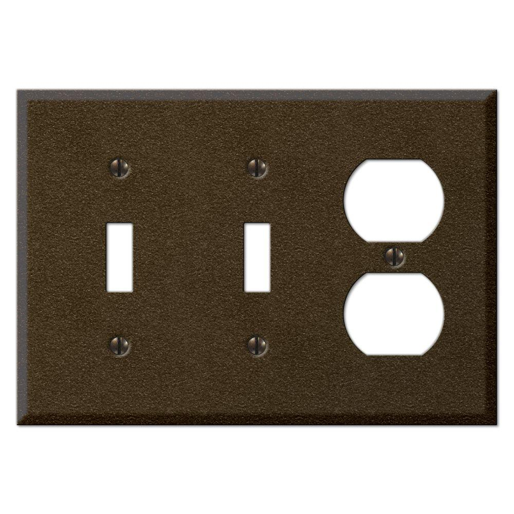 Creative Accents Textured 3 Gang Combination Wall Plate - Bronze