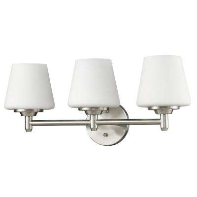 Paige 3-Light Satin Nickel Vanity Light with Frosted Glass Shades