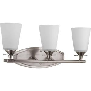 Cantata Collection 3 Light Brushed Nickel Vanity With Etched White Glass Shades