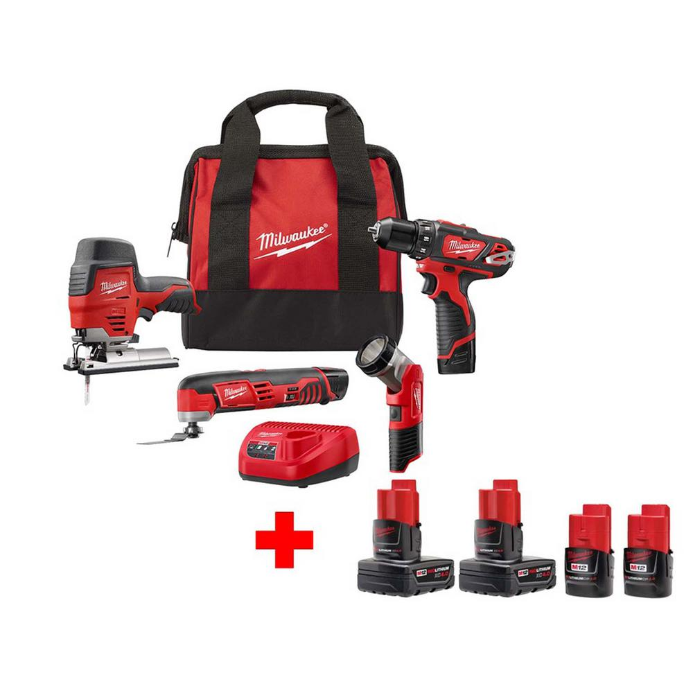 Milwaukee M12 12-Volt Lithium-Ion Cordless Combo Tool Kit (4-Tool) with 6 Batteries, Charger and Tool Bag