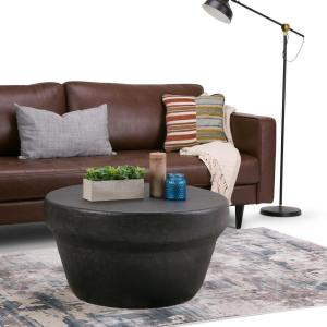 Superb Simpli Home Garvy Contemporary Round 33 In Wide Metal Andrewgaddart Wooden Chair Designs For Living Room Andrewgaddartcom