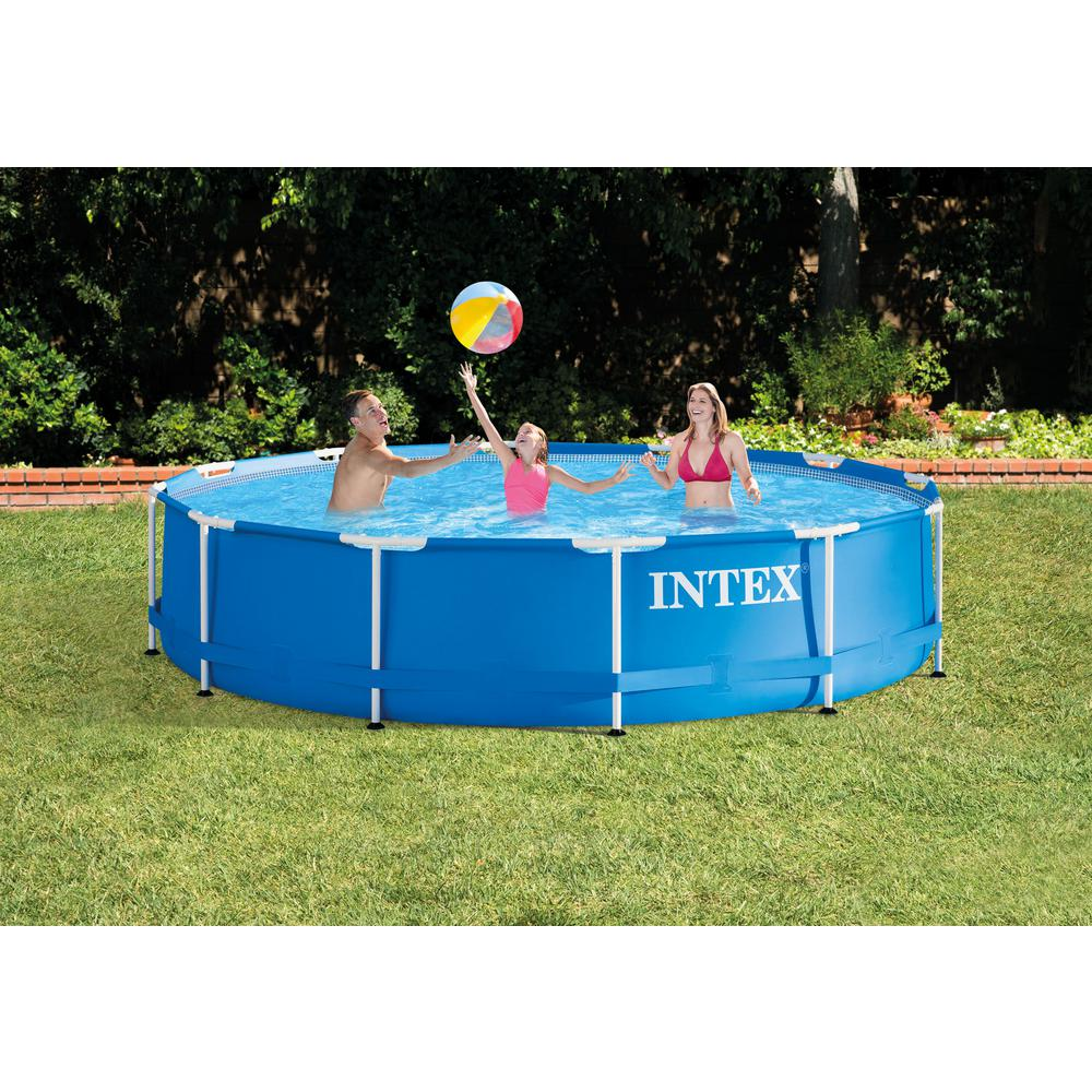 Intex 12 ft. x 30 in. Deep Round Metal Frame Swimming Pool with 530 GPH  Pump and Filters