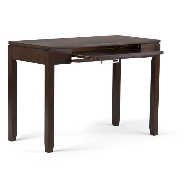 Simpli Home 42 In Rectangular Russet Brown 1 Drawer Writing Desk With Solid Wood Material Axcrcos12 Rus The Home Depot