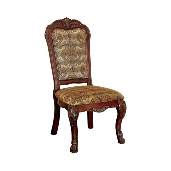 Cherry Brown Fabric Padded Side Chairs with Wooden Claw Feet (Set of 2)