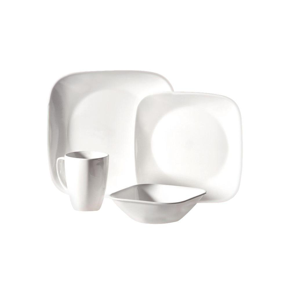 Corelle Square 16-Piece Pure White Dinnerware Set