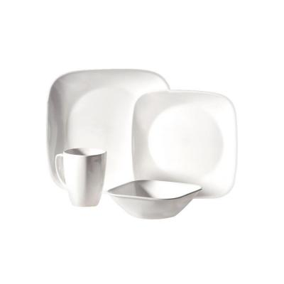 Square 16-Piece Pure White Dinnerware Set