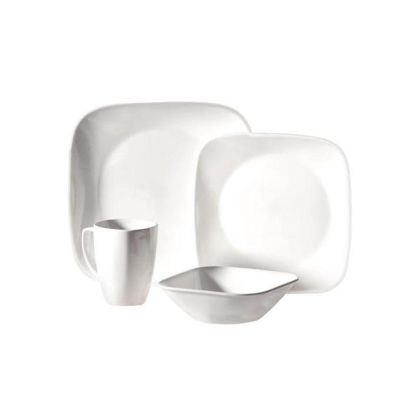 Corelle Square 16-Piece Pure White Dinnerware Set 1069958