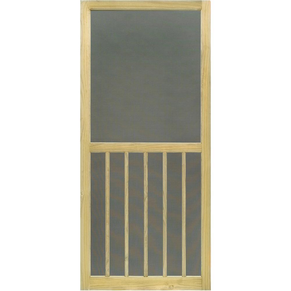 31.75 in. x 79.75 in. Premium 5-Bar Stainable Screen Door