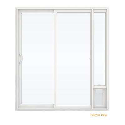 72 in. x 80 in. V2500 White Vinyl Prehung Left Hand 1 Lite Sliding Patio Door with Medium Pet Door
