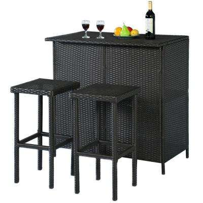 Brown 3-Piece Rattan Wicker Outdoor Bistro Bar Set Patio Table and 2-Stools Furniture