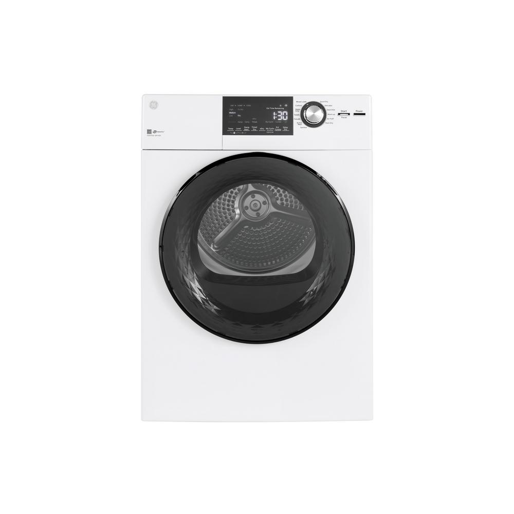 GE 4.3 cu. ft. 240 Volt White Electric Dryer with Stainless Steel Basket, ENERGY STAR