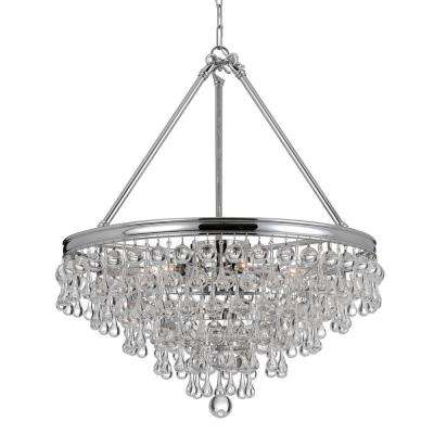 Calypso 8-Light Crystal Teardrop Polished Chrome Chandelier