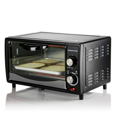 800-Watts Electric Black Toaster Oven 3 Cooking Modes 30 Min Timer Crumb Tray, Tempered Glass Door