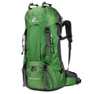 FK0395 60 l 13 in. Green Waterproof Foldable Backpack Camping Bag with Rain Cover