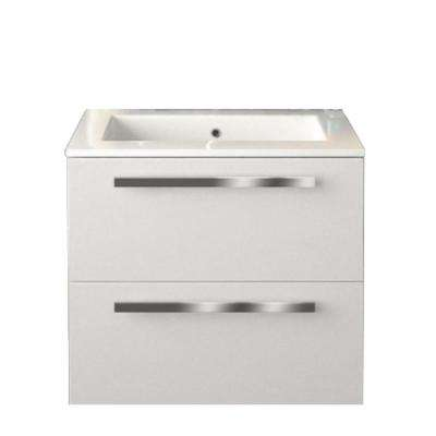 Ambra 24 in. W x 18-1/10 in. D Bath Vanity in Glossy White with Tekorlux Vanity Top in White with White Basin