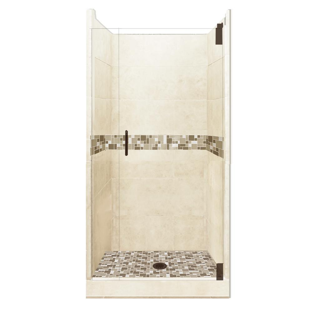 American Bath Factory Tuscany Grand Hinged 36 in. x 36 in. x 80 in. Center Drain Alcove Shower Kit in Desert Sand and Old Bronze Hardware