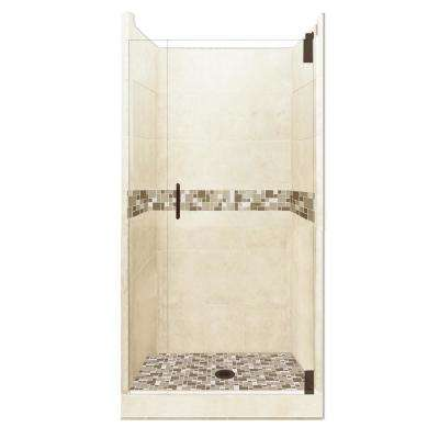 Tuscany Grand Hinged 36 in. x 36 in. x 80 in. Center Drain Alcove Shower Kit in Desert Sand and Old Bronze Hardware