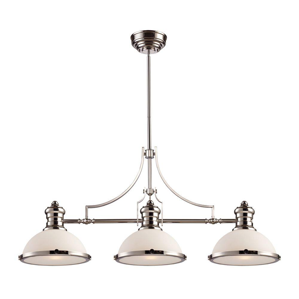 Titan Lighting Chadwick 3-Light Polished Nickel Island Light With White Glass Shades
