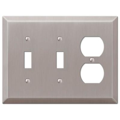 Metallic 3 Gang 2-Toggle and 1-Duplex Steel Wall Plate - Brushed Nickel