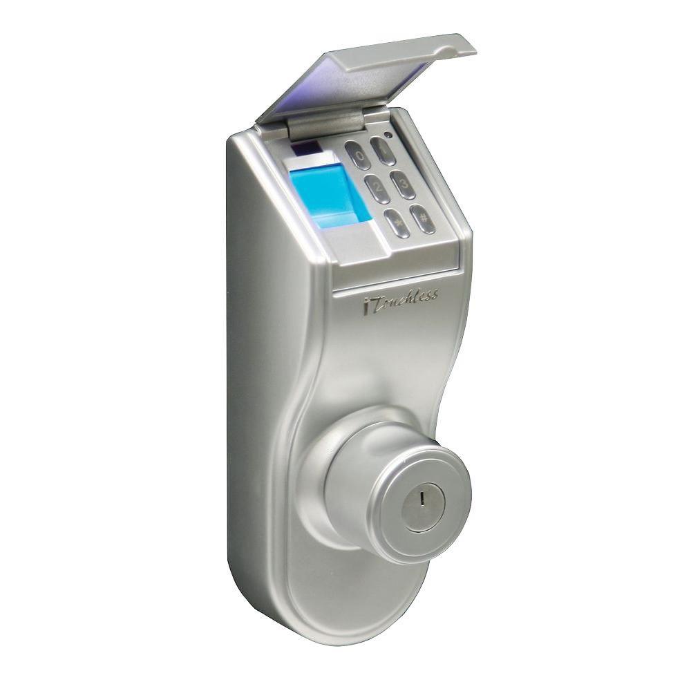 ITouchless Bio Matic Fingerprint Silver Left Handle Deadbolt Door Lock