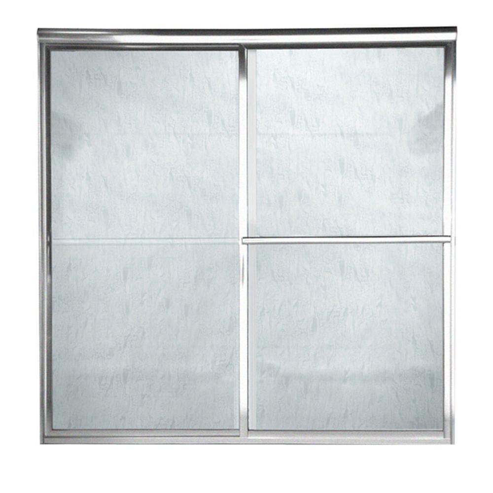 American Standard Prestige 48 in. x 71.5 in. Framed Sliding Door in Silver Finish with Rain Glass