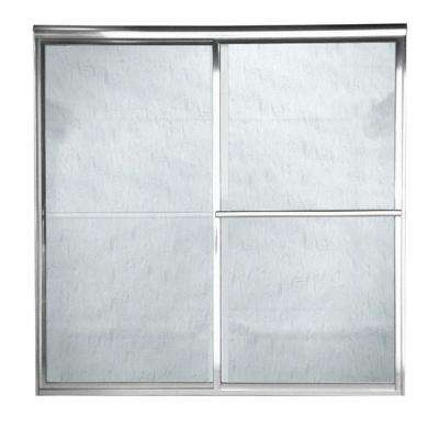 Prestige 48 in. x 71.5 in. Framed Bypass Door in Silver Finish with Rain Glass