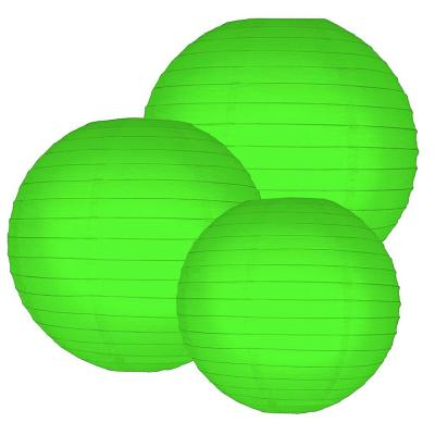 Multi Size Green Paper Lanterns (6-Count)