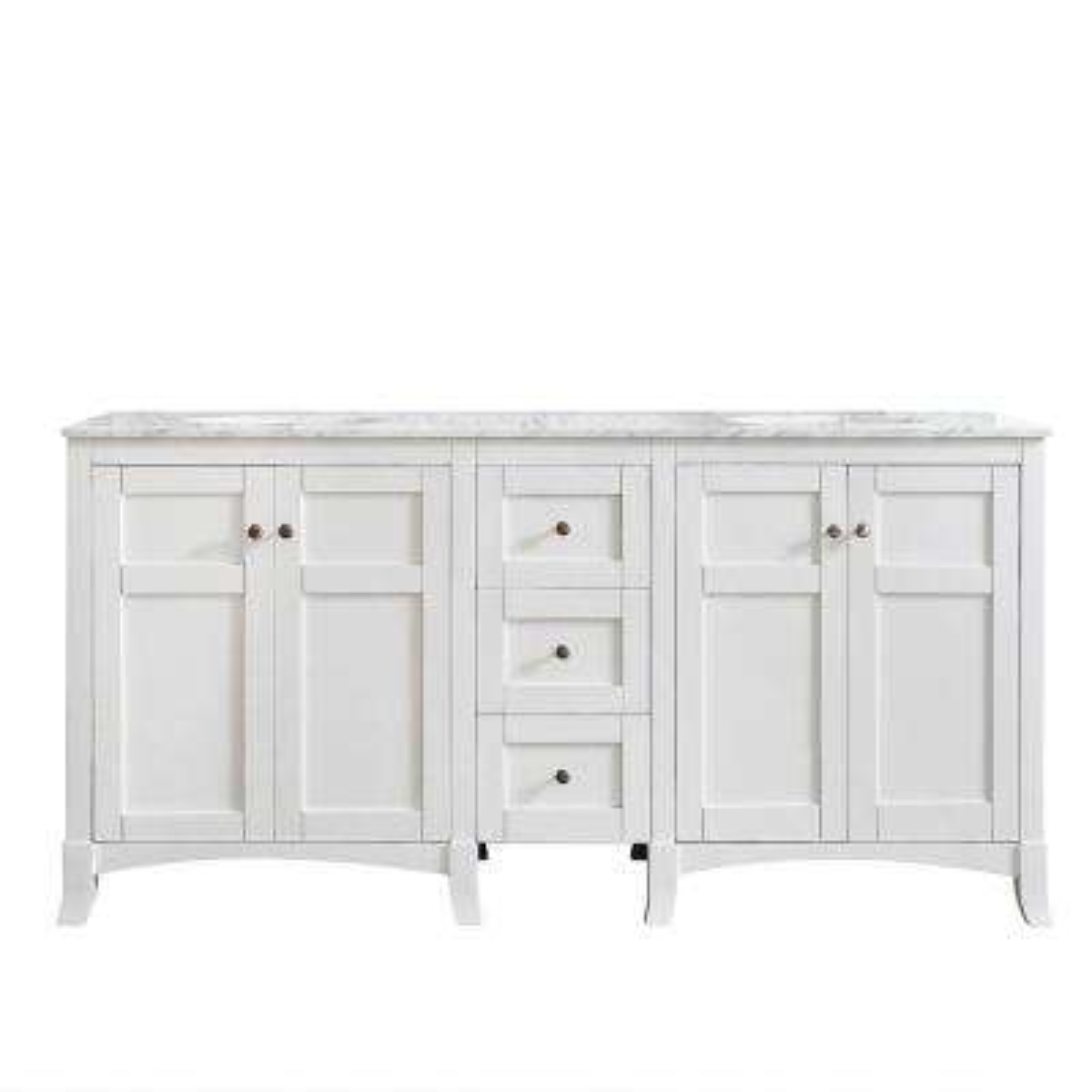 Arezzo 72 in. W x 22 in. D x 36 in. H Vanity in White with Marble Vanity Top in Carrara White with Basin