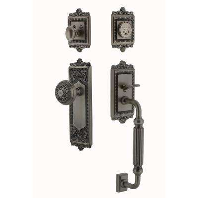 Egg and Dart Plate 2-3/8 in. Backset Antique Pewter F Grip Entry Set Egg and Dart Knob