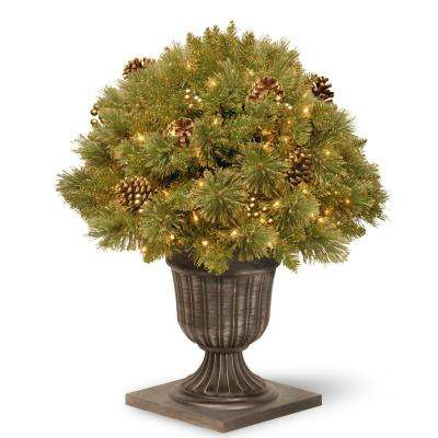 2.2 ft. Glittery Gold Pine Porch Artificial Bush with Clear Lights