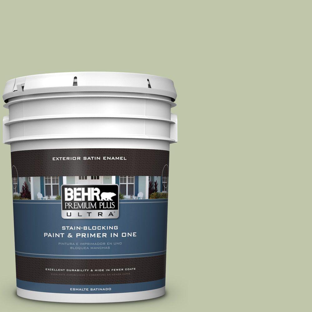 BEHR Premium Plus Ultra 5-gal. #PPU10-8 Minted Lemon Satin Enamel Exterior Paint