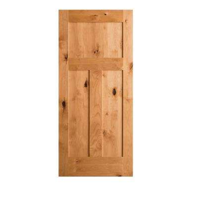 Good Krosswood Craftsman Rustic Knotty Alder 3 Panel Shaker Solid Core Interior Door  Slab