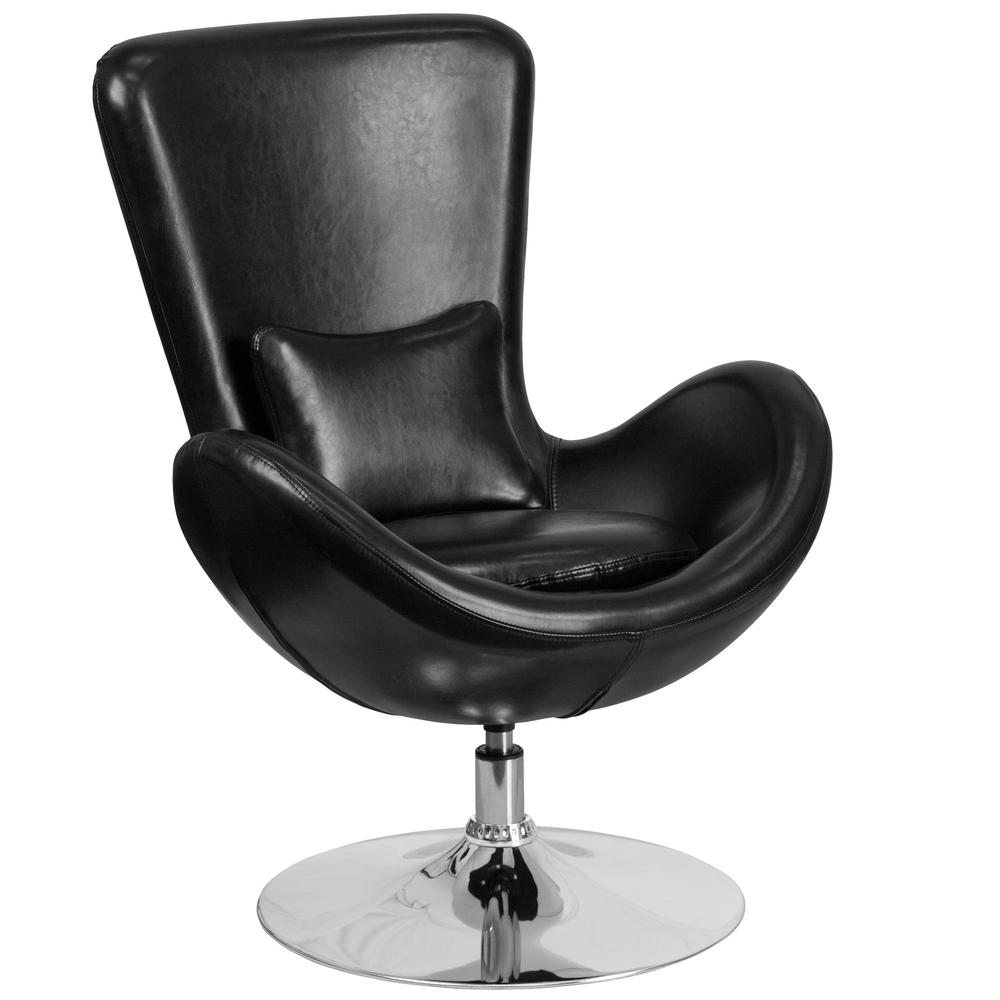 Black Leather Egg Series Reception-Lounge-Side Chair