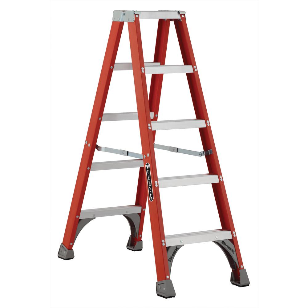 5 ft. Fiberglass Twin Step Ladder with 300 lbs. Load Capacity