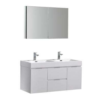 Valencia 48 in. W Wall Hung Vanity in White with Acrylic Double Vanity Top in White with White Basin, Medicine Cabinet