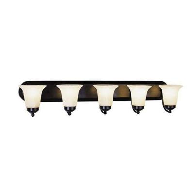 Cabernet Collection 5-Light Oiled Bronze Bath Bar Light with White Marbleized Shade