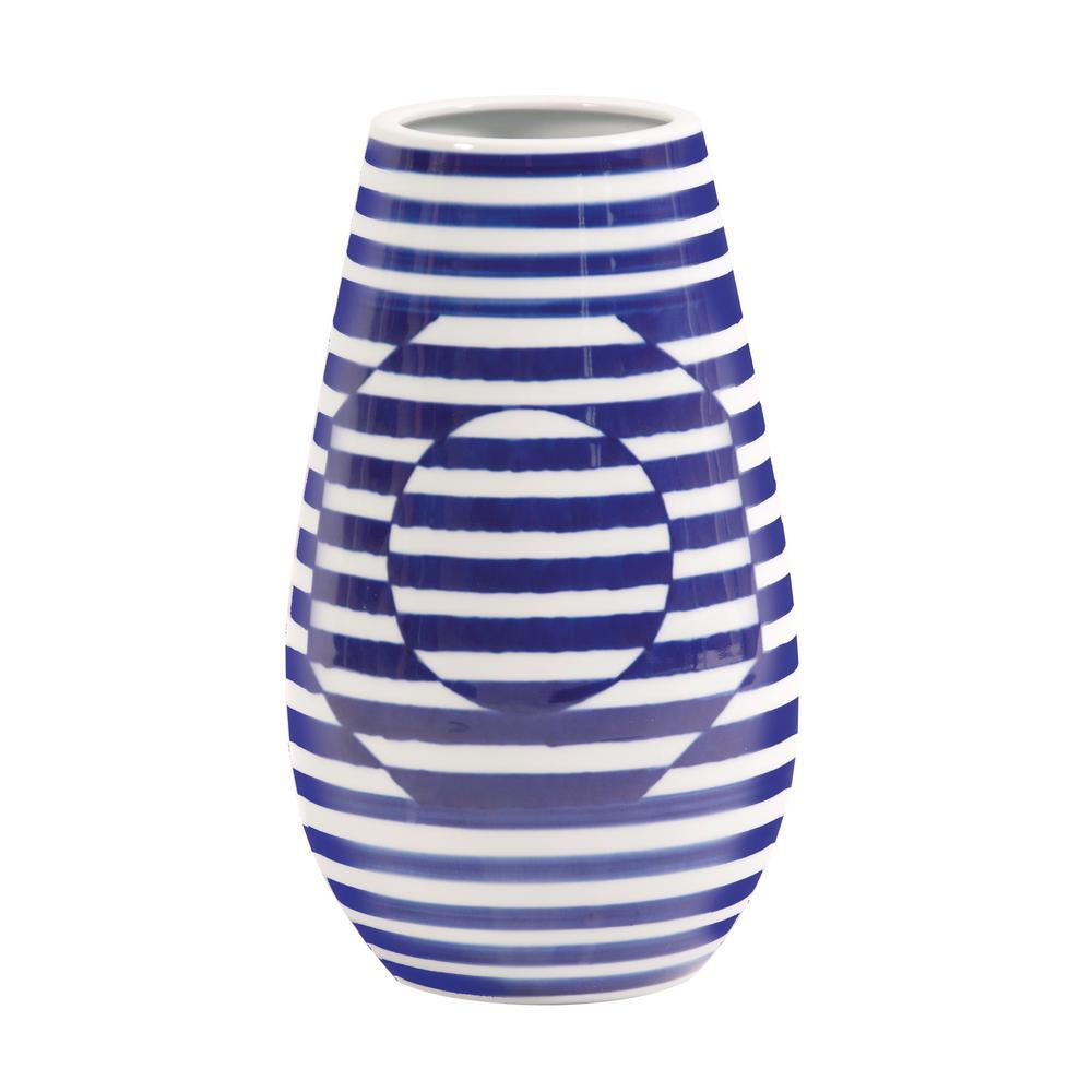 Small Optical Illusion Blue and White Striped Ceramic Decorative Vase