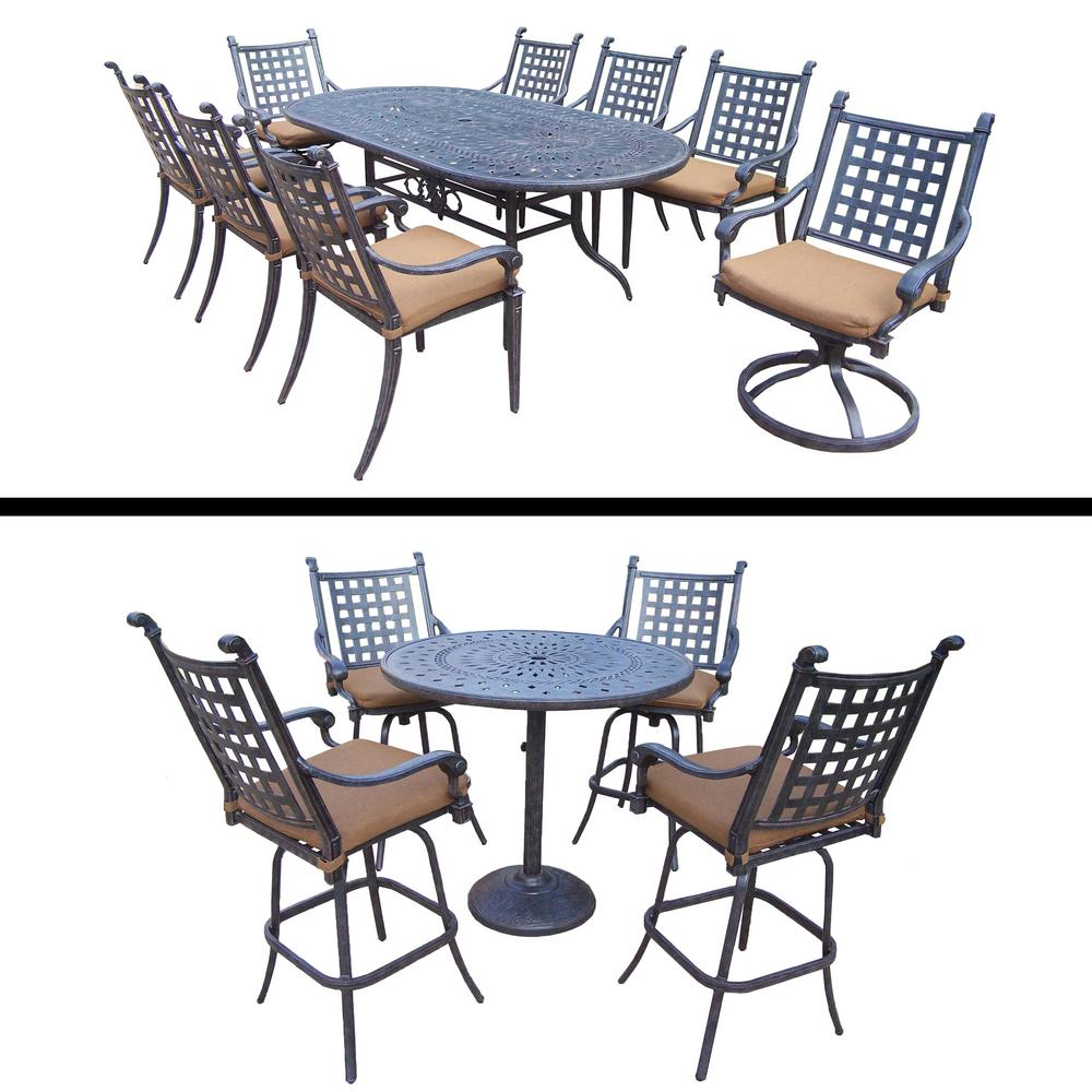 Belmont 14-Piece Aluminum Outdoor Dining Set with Sunbrella Brown Cushions